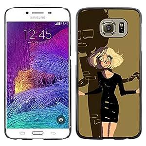 Rubia de Halloween del personaje de dibujos Scary- Metal de aluminio y de plástico duro Caja del teléfono - Negro - Samsung Galaxy S6