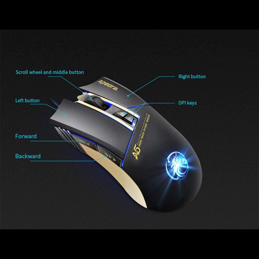 Hexiaoyi New Mouse for Wired Mouse Professional Gaming Mouse Game Mouse Color : 5 Black e-Commerce Version