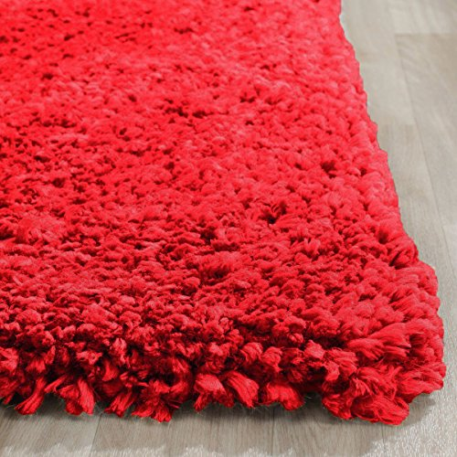 Solo Solid Shag Collection Red Plush Area Rug (5′ x 7′) – ( Popcorn Red )