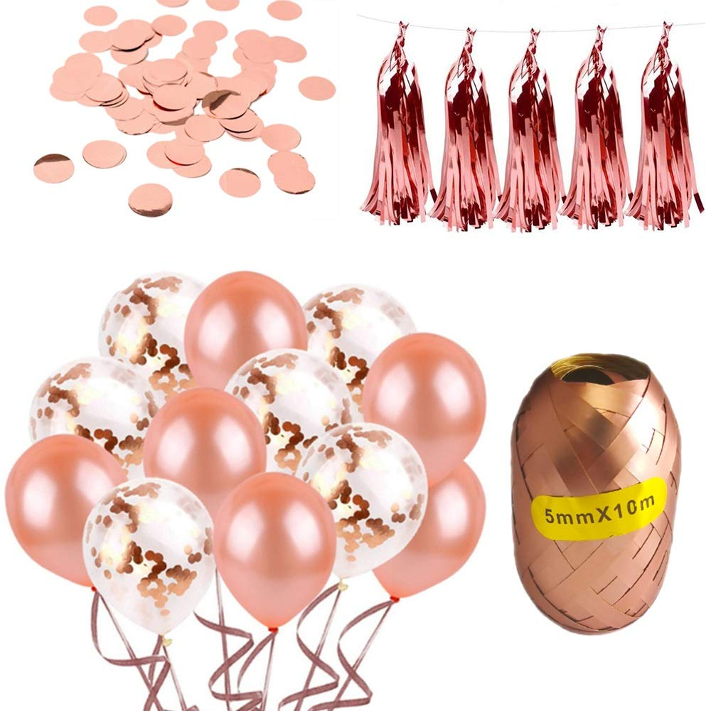 Rose Gold Party Decorations and Supplies for Wedding Showers, Bridal Showers, Engagement Shower Parties. The Decor Includes 40 Balloons, Confetti, Ribbons, Tassels. by Swiss Design