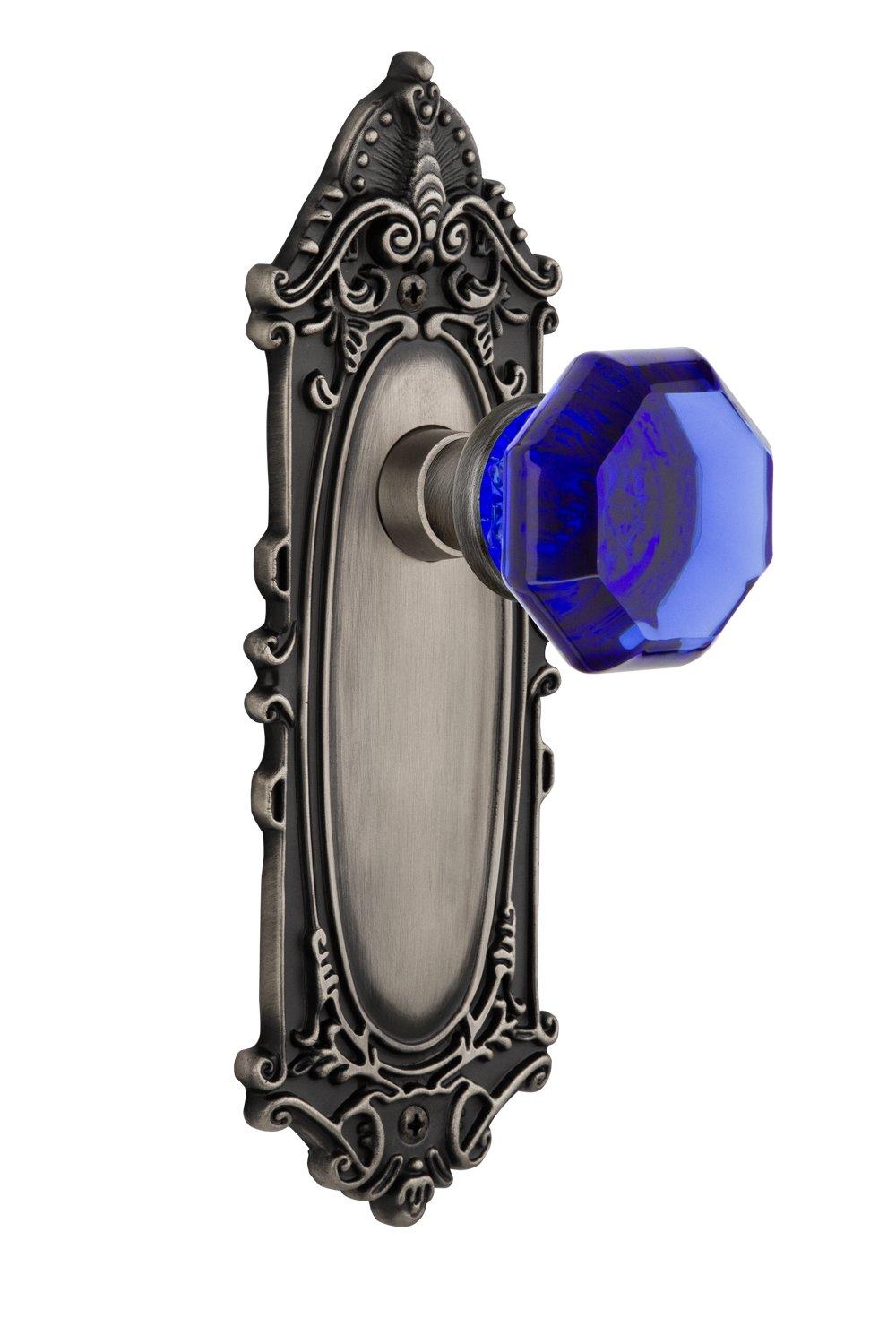 2.375 Nostalgic Warehouse 721292 Victorian Plate Passage Waldorf Cobalt Door Knob in Antique Pewter