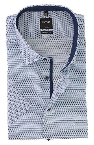 OLYMP Business & Freizeit Hemd aus der Serie Luxor Kurzarmhemd mit Under Button Down Kragen Modern Fit Schnitt Gr.39 Bleu Blau