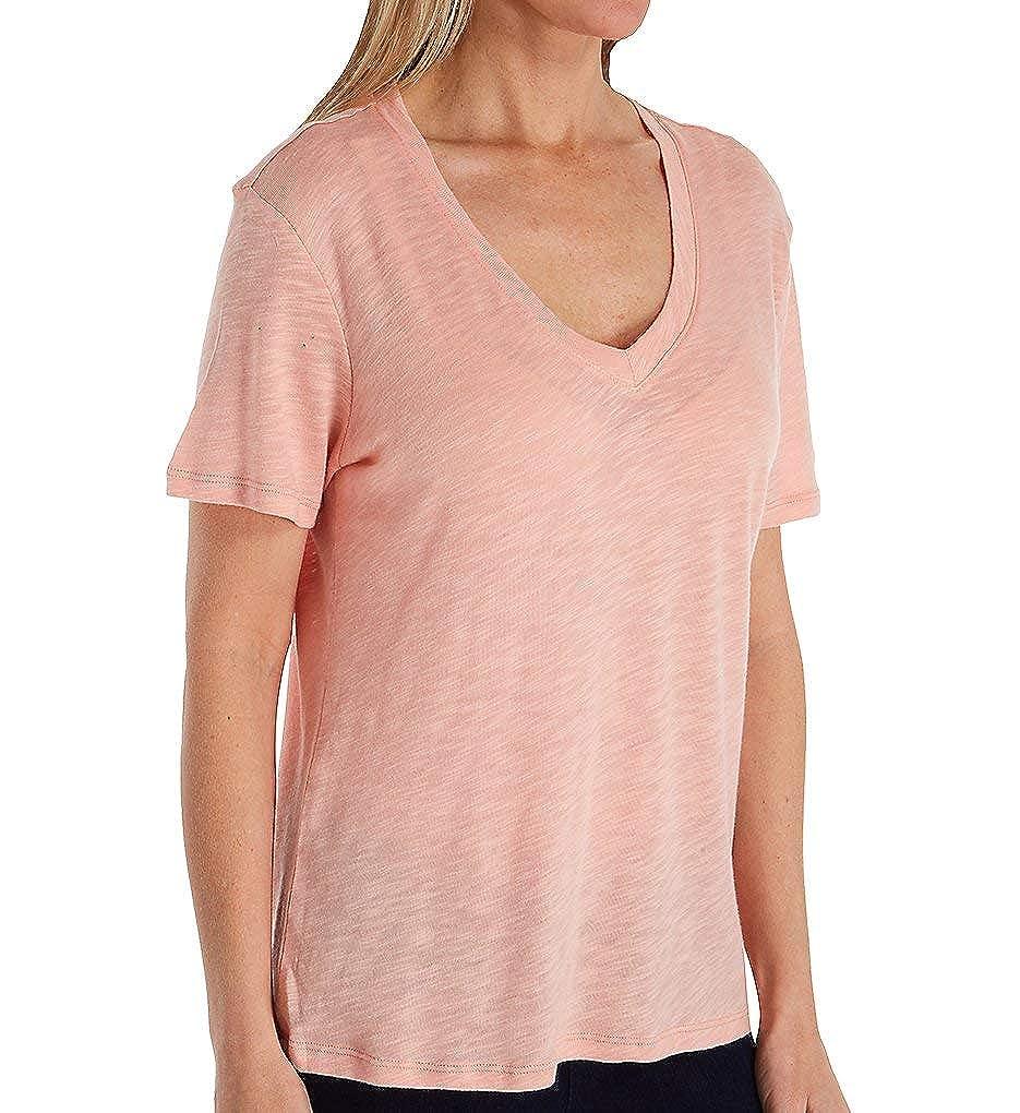 Fresh Pink Splendid Womens Deep VNeck Slub Tee TShirt TShirt