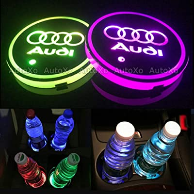 LED Car Cup Holder Lights for Au-di 7 Colors Changing USB Charging Mat Luminescent Cup Pad LED Interior Atmosphere Lamp 2pcs: Automotive