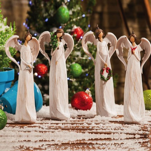 Winter's Bliss Angel Statue Set