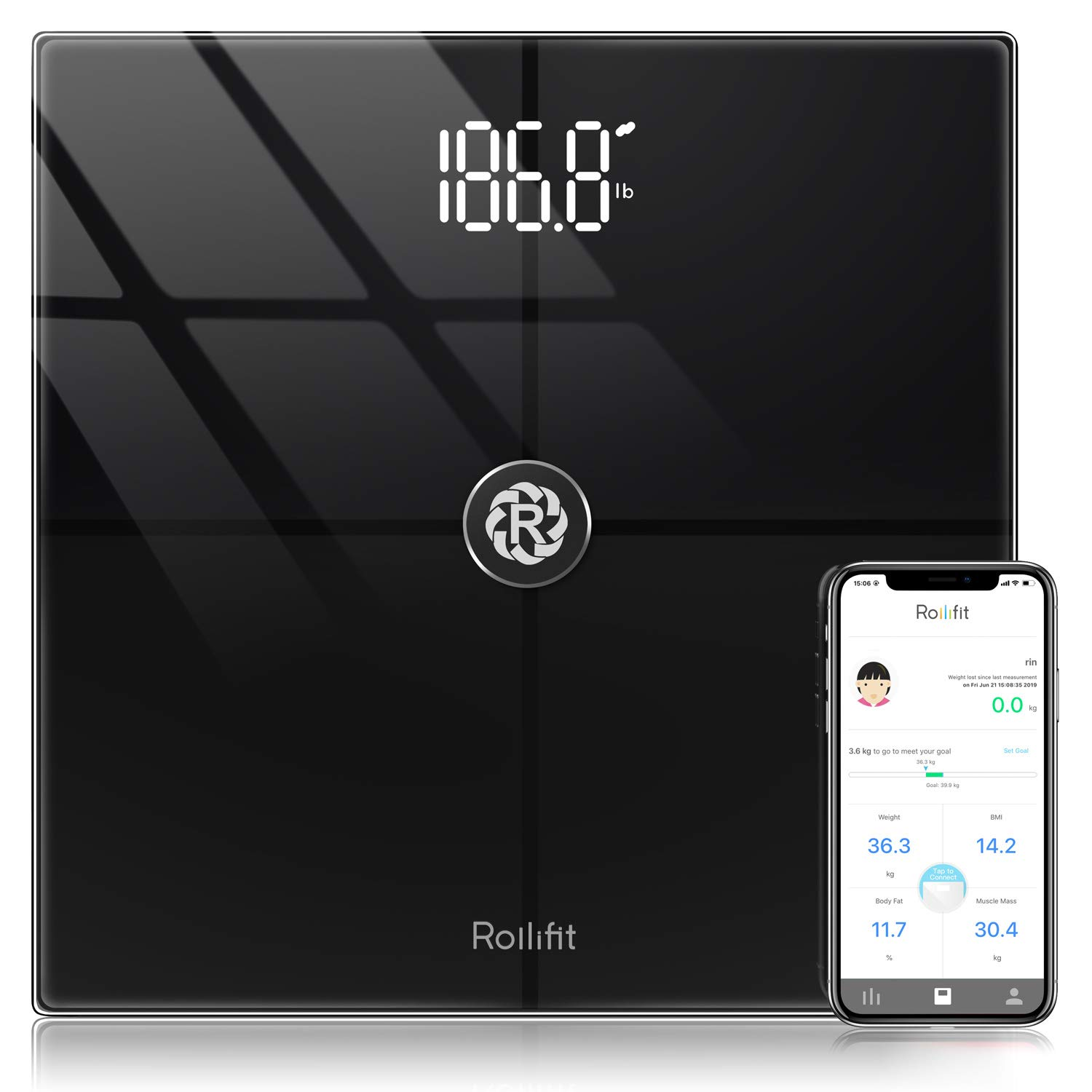 Rollifit Smart Body Fat Scale, Digital Bathroom Weight Scale Sync with  Fitbit, Apple Health and Google Fit,
