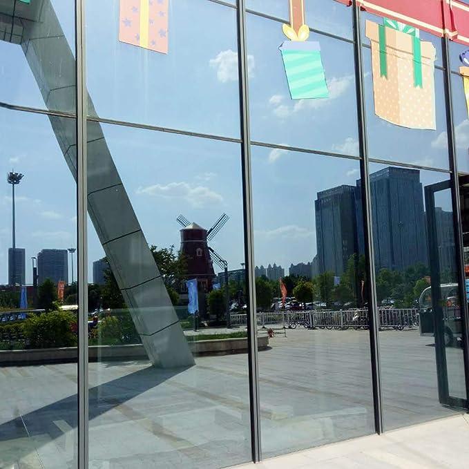 Verre /à miroir 45 x 200 cm Qklovly Film Solaire r/éfl/échissant Teinte Miroir Miroir /à sens unique /à miroir