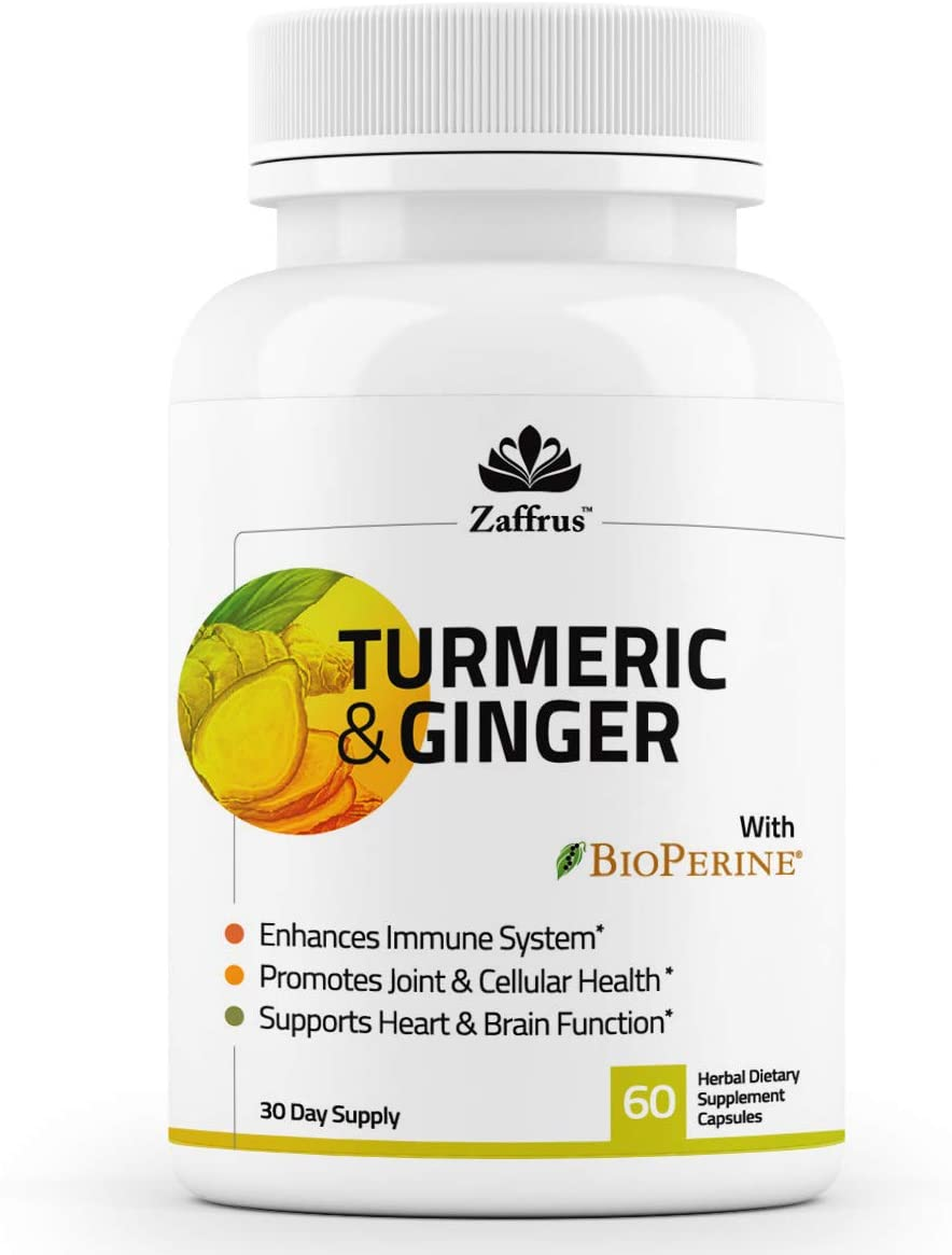Zaffrus – Turmeric Ginger with BioPerine to Support Healthy Joints Pain Relief, Enhance Immune System, Support Heart Brain Function, Antioxidant. 60 Supplement Capsules for Women and Men