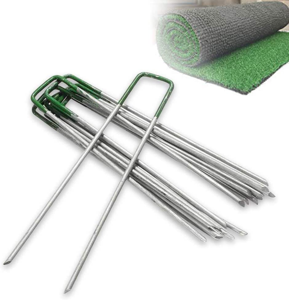 50x 6'' Garden Turf U Pins Metal Galvanised Pegs Staples Weed Artificial Grass Half Green