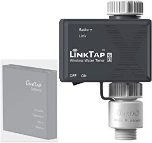 LinkTap G2 Wireless Water Timer Add-on - Remote Hose Timer for Lawns & Gardens - Cloud Controlled Watering with Real-Time Fault Detection & Notifications - Easy-Install, App & Smart Assistant Enabled