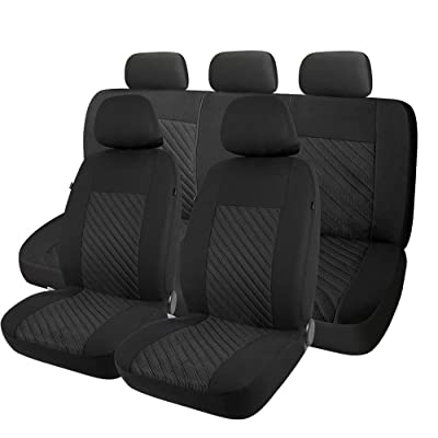 PIC AUTO Car Seat Covers Full Set, Airbag Compatible, Jacquard Fabric Fit Most Cars, Trucks, SUVs and Vans (Black, Low Back 9PCS): Automotive