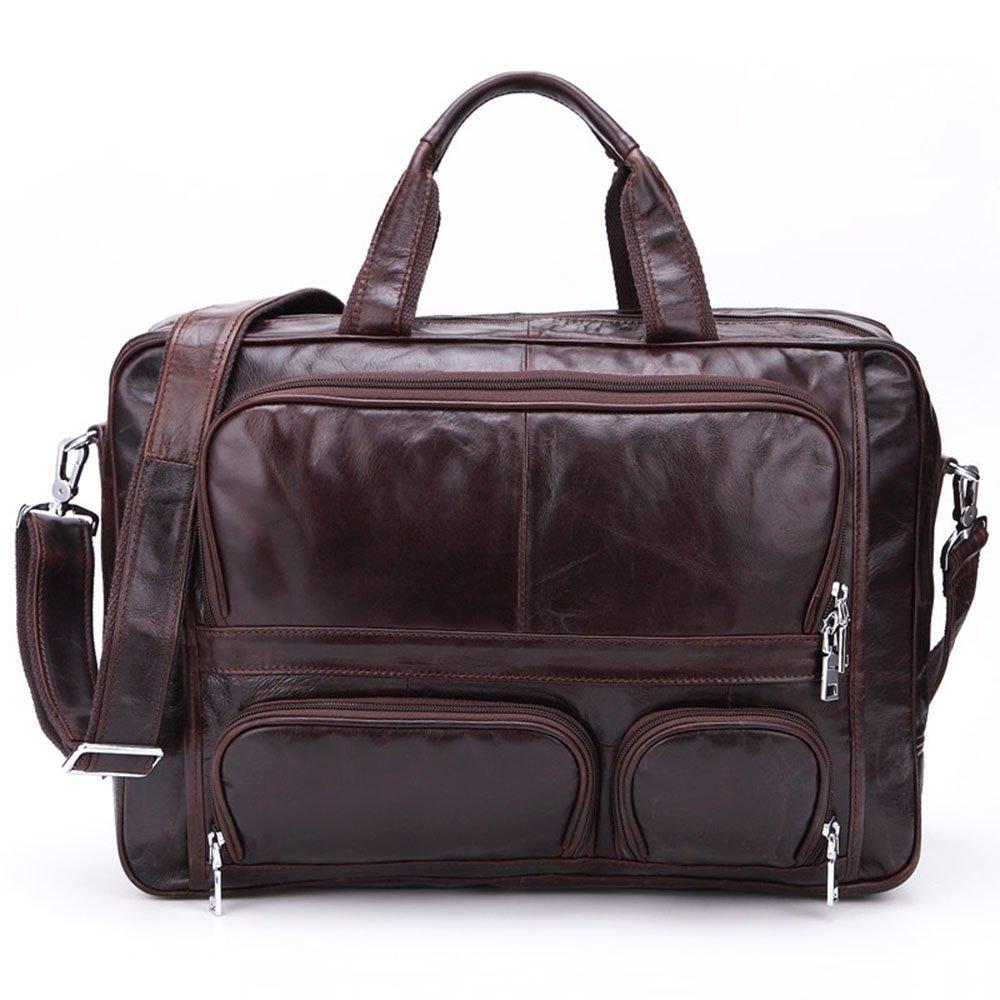旅行バッグ スタイリッシュなシンプルさ大容量のハンドバッグメンズトラベルバッグビジネスカジュアルレザーメッセンジャーバッグ スポーツバッグ トラベルバッグ (色 : コーヒー)  コーヒー B07P5QTMBN