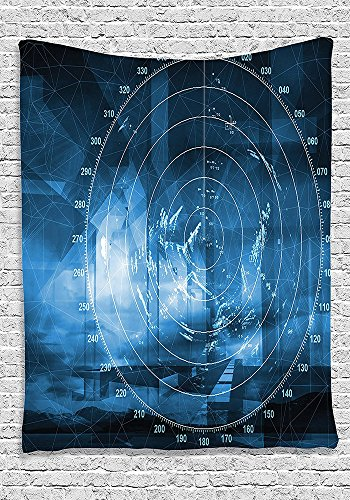 Navy Blue Decor Collection Modern Ship with Radar Exposure in the Screen (Flat Screen Collection Clock)