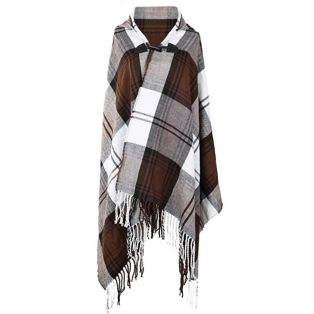 Women Plaid Hooded Poncho Bobo Shawl Fringe Tartan Wrap Tasseled Batwing Cape by Landove (Image #3)