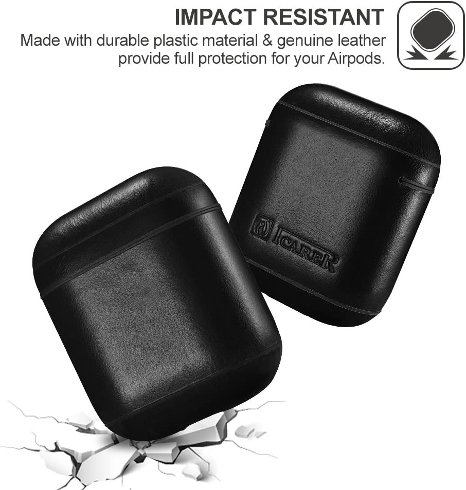 Wireless Charging Cover for Apple Airpod 2 /& 1 The Front LED Visible ICARER Genuine Airpods Leather Case Brown AirPods Case