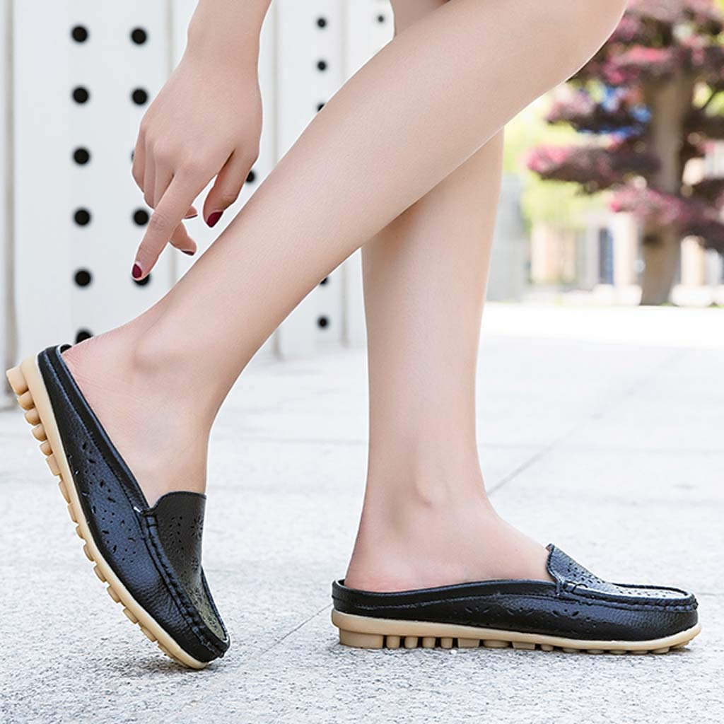 ✔ Hypothesis_X ☎ Womens Retro Backless Slip On Loafer Flats Pointed Toe Mules Low Heel Dress Slipper Shoes Black by ✔ Hypothesis_X ☎ Shoes (Image #6)