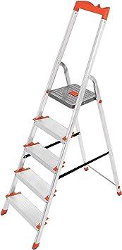 SONGMICS Escalera de 5 Peldaños, Escalera de Aluminio con Peldaños ...