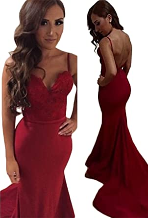 Mathena Womens Spaghetti Straps Backless Sweep Train Mermaid Formal Prom Dress US 2 Dark Red