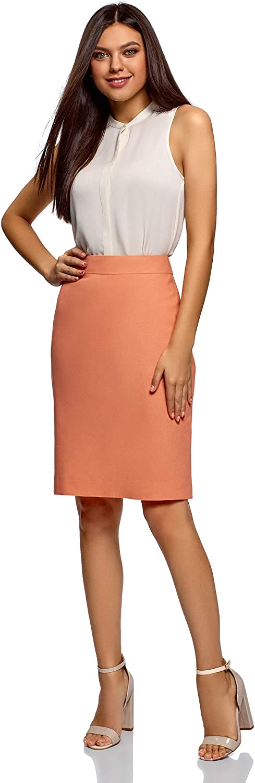 oodji Collection Mujer Falda-Lápiz de Lino, Naranja, ES 36 / XS ...
