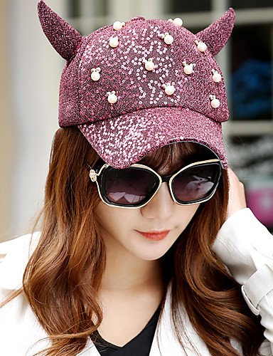 Suvsertu Summer Fashion Hip-hop Tide Pearl Decoration Devil Horns Sequins Baseball Cap, Blue-one-Size, Blue-one-Size DSJ#1414