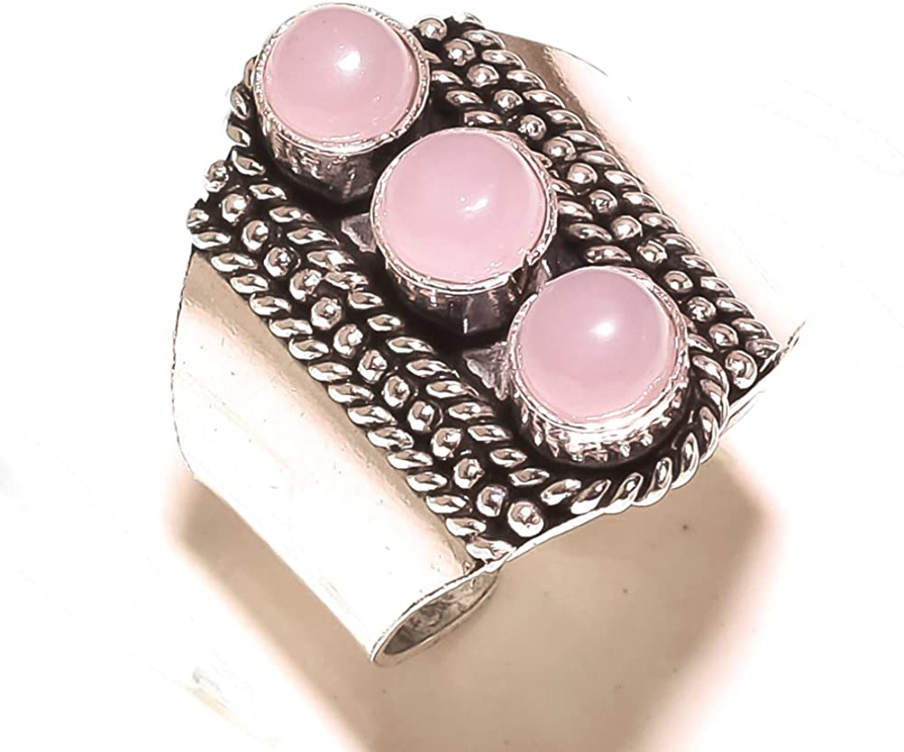 Pink Rose Quartz Sterling Silver Overlay Ring Size 12 US Ethnic Sizable Handmade Jewelry