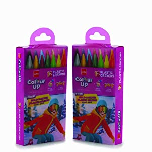 [Apply coupon] Cello ColourUp Plastic Crayons - Pack of 2   12+2 Bright Shades in Each Pack   Non-Toxic   Attractive Adventure Themed Pack, Ideal for Gifting   2X Stronger Body