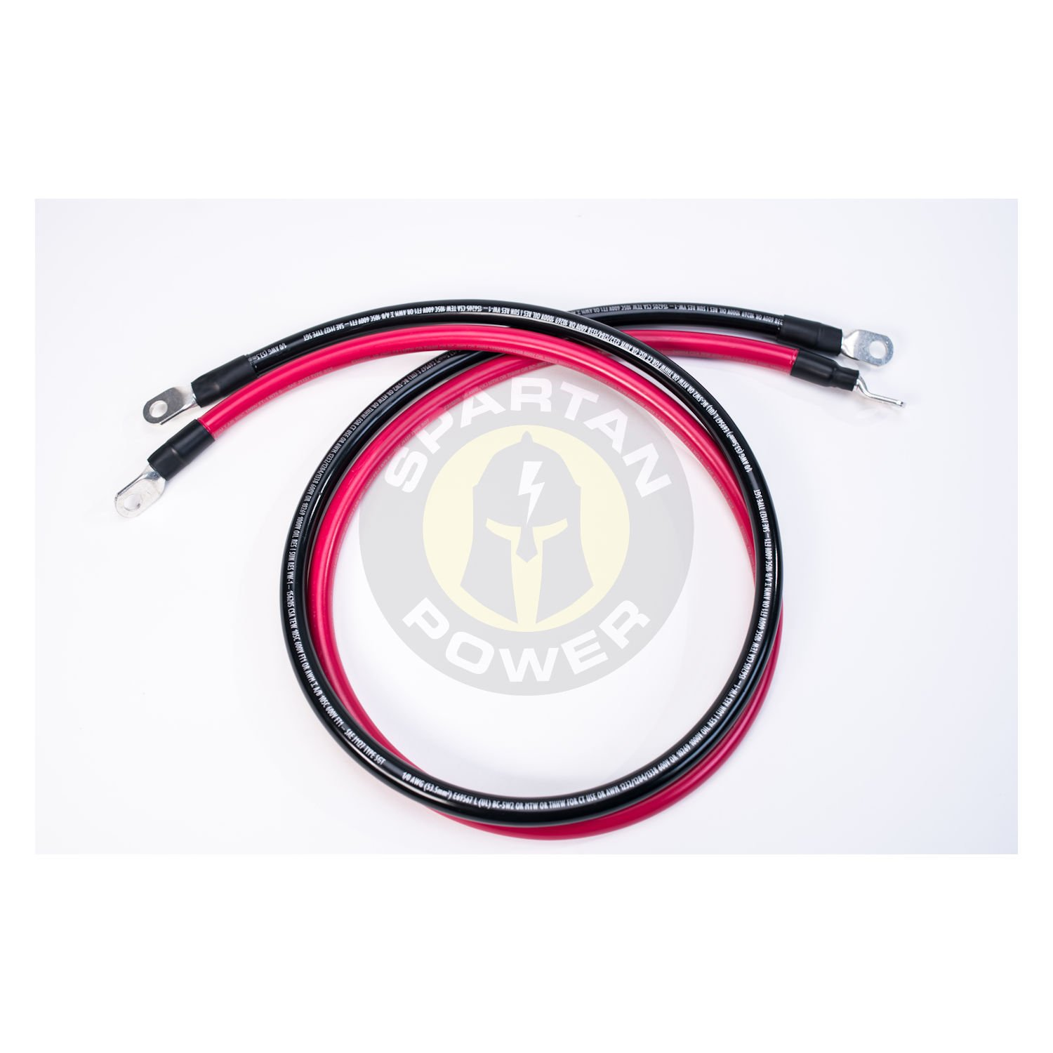 Spartan Power 4 AWG 5 Foot Battery Cable Set Four Gauge Wire Made in America 5 FT with 3//8 Ring Terminals