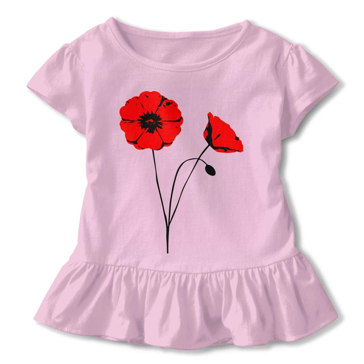 SHIRT1-KIDS Poppy Flower T-Shirts Toddler//Infant Girls Short Sleeve Ruffles Shirt T-Shirt for 2-6T