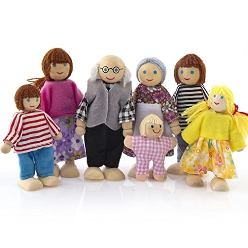 7-Piece Poseable Wooden Doll Family Pretend Play Mini People Figures for Dollhouse Kids Childs Toy, House Family Furniture Miniature 7 People Set