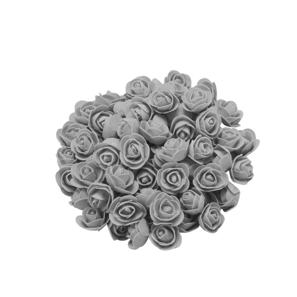 Cyhulu New Fashion Creative 100Pcs Foam Rose Flower Heads Best Lover Gifts for Wedding Birthday Valentine Mother's Day Favors Decoration (D, One size)