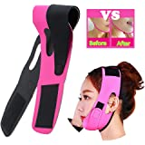 Risingmed V Face Line Belt Chin Cheek Slim Lift Up Anti Wrinkle Mask Ultra-thin Strap Band V Face Line Belt Strap Band-Red Breathable (Pink)