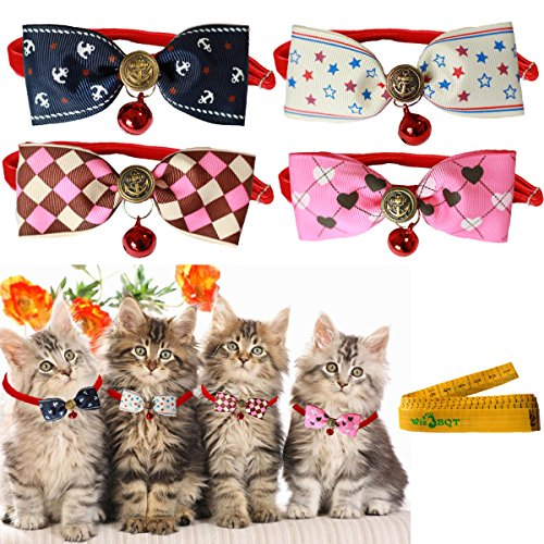 [Cool Gentle Stylish Adjustable Pet Cat Dog Rabbit Cloth Bow tie Bowknot Collar with Alloy Bell for Kitten Small Cats Dogs Puppy Rabbits, 4] (House With Dancing Halloween Lights)