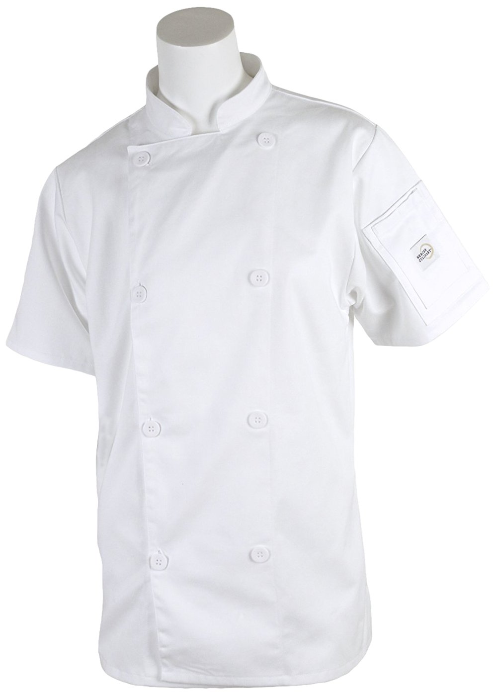 Mercer Culinary M61032WHS Genesis Women's Short Sleeve Chef Jacket with Traditional Buttons, Small, White