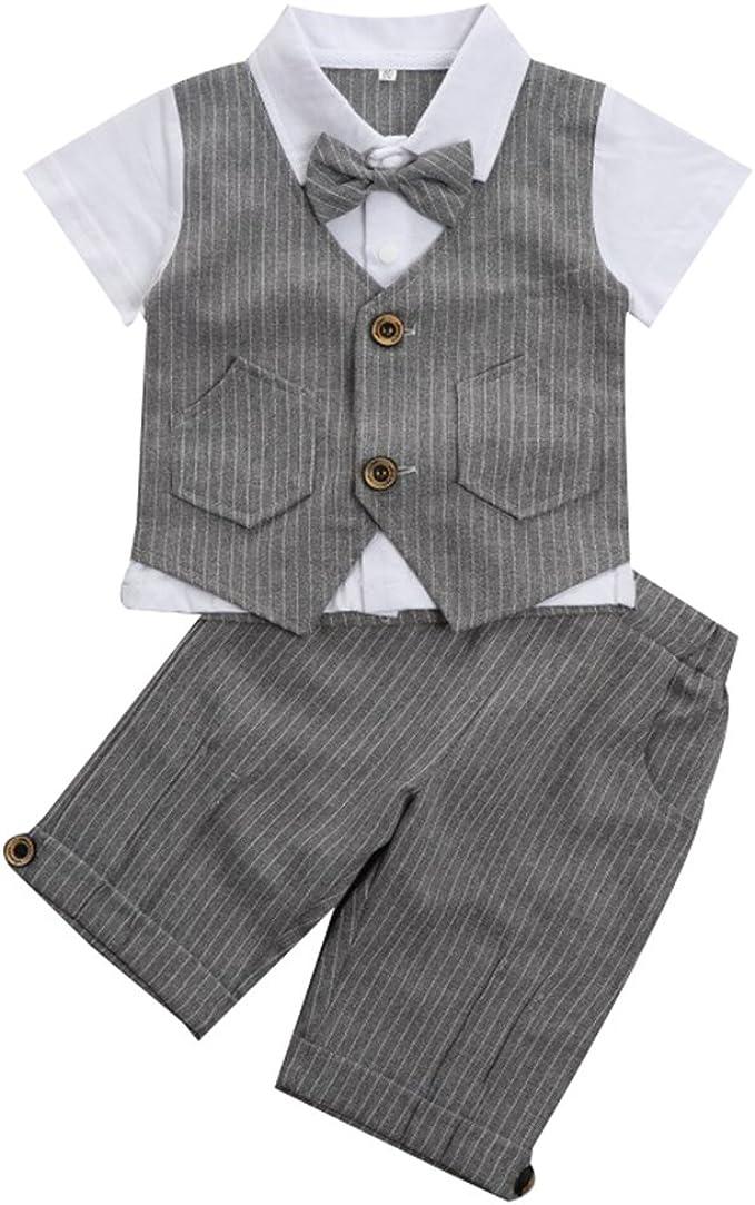 kurzes Shirt mit Fliege Hose Weste 3-teiliges Set Mintgreen Baby Jungen Outfits Gentleman Anzug 5 Jahre Gr/ö/ße: 1
