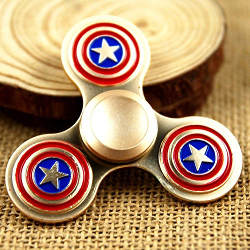 Captain+America Products : Tri-Spinner Fidget Toy Hand Spinner Metal Super Hero Captain America Fidget Spinner Finger Gyro, Stress Reducer Relieve Anxiety, Boredom and EDC (Siver Gold)
