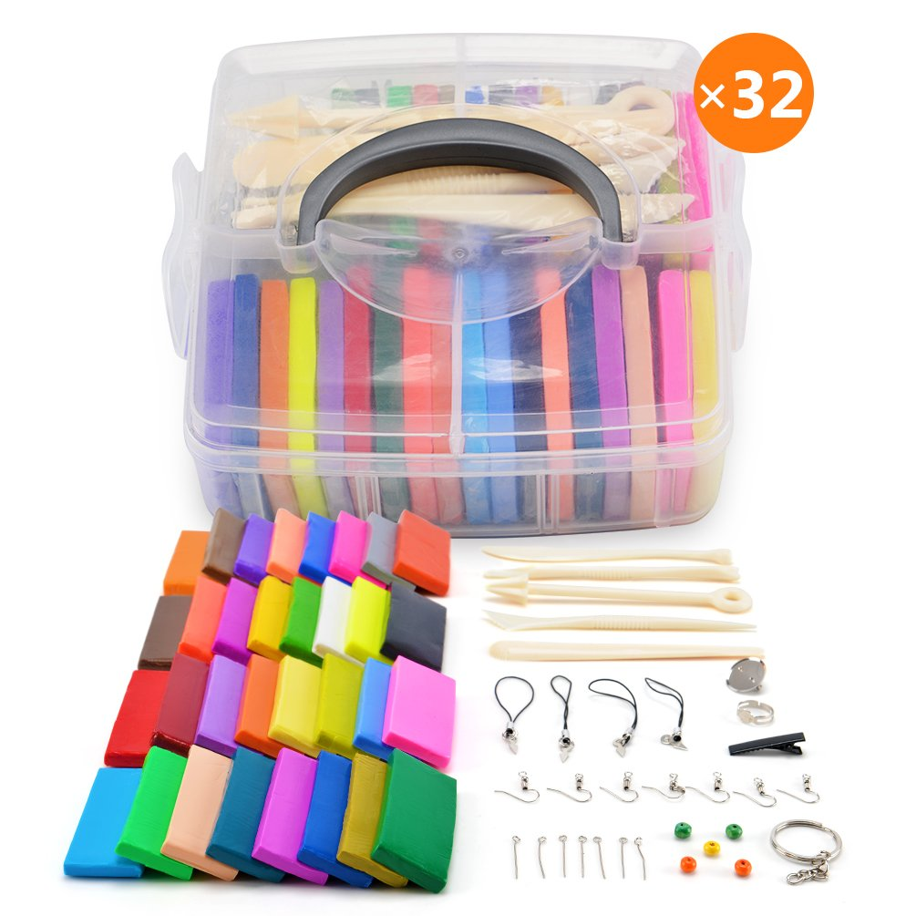 [Storage Box] 32 Blocks Polymer Clay Set, Colorful DIY Soft Craft Oven Bake Modelling Clay Kit, w/ Tools and Accessories
