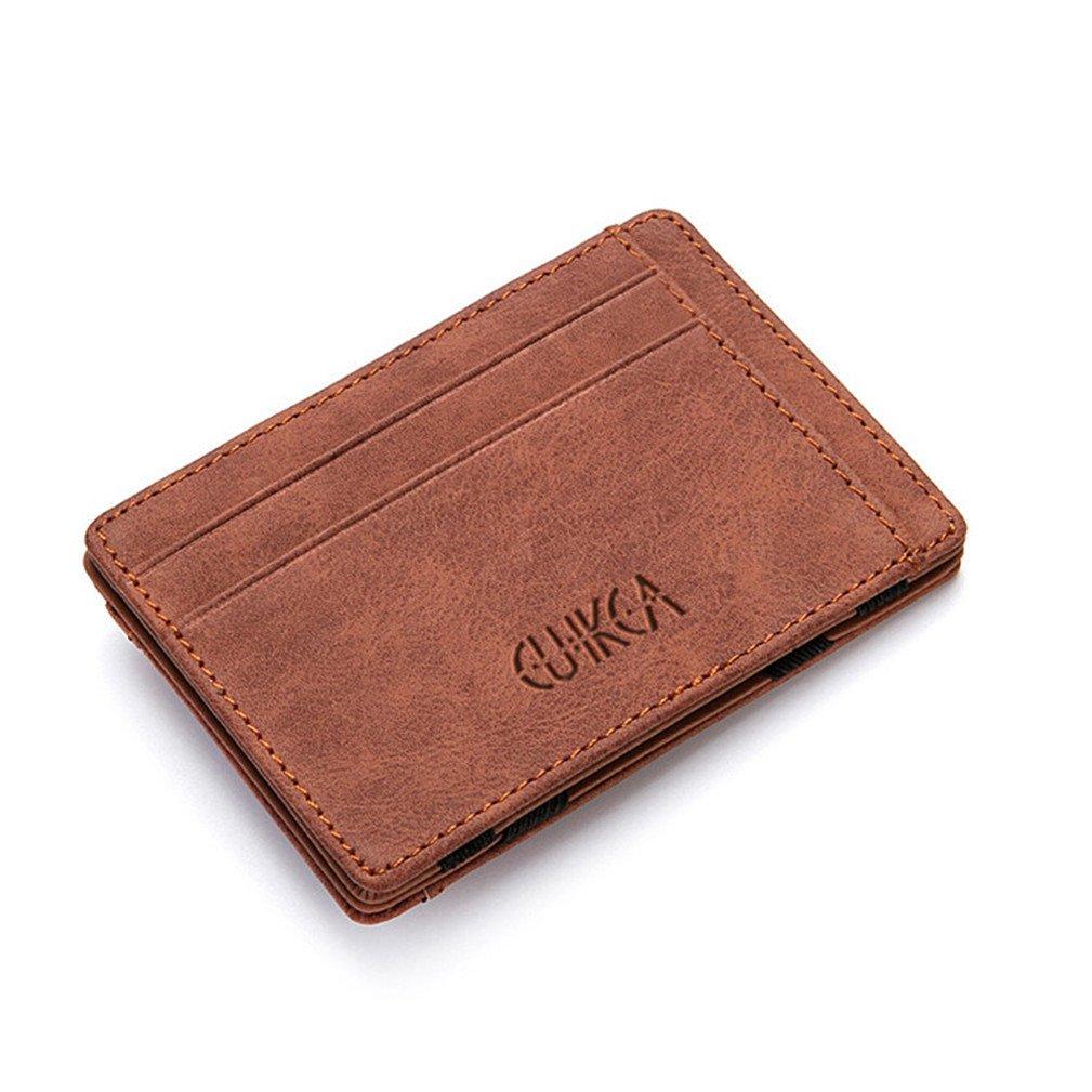 Magic Wallets for Men, CoKate Men Wallet Leather Slim Front Pocket Money Clip Card Holder (Coffee)