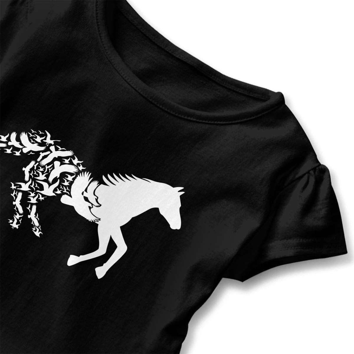 Black Horse Silhouette with Flying Birds Kids Children Short-Sleeved Shirt Clothes