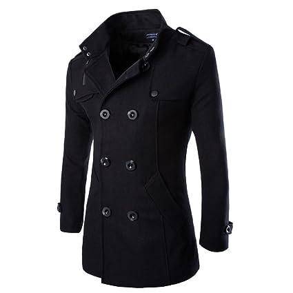 Hombres Otoño Invierno Doble fila Botón Abrigo Top Blusa Chaqueta Hombres Jacket Outerwear Tops Blazer: Amazon.es: Ropa y accesorios