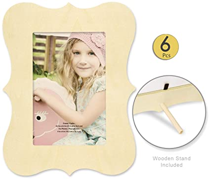 Amazoncom Pack Of 6 Unfinished Wood Picture Frames For Crafts