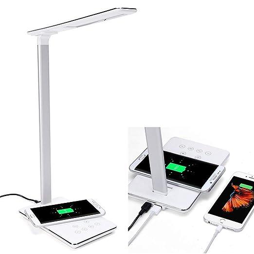ACZZ Lámpara de escritorio con cargador inalámbrico Qi y ...