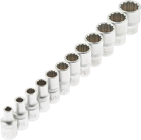 Chiave a bussola 12-pezzo 0,64 cm attrezzi di serraggio 12-esagonale chiave Harley chiavi bussola sgranocchia Set attrezzi Set di chiavi a bussola da infilare sgranocchia simandra Set