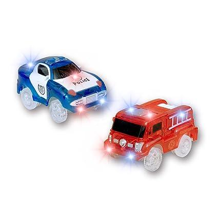MIGE Light Up Toy Coche de Policía y Carro de Bomberos con luz Intermitente Brillo en la Ciudad Oscura Juguetes de Acción Rush and Rescue Paquete de ...