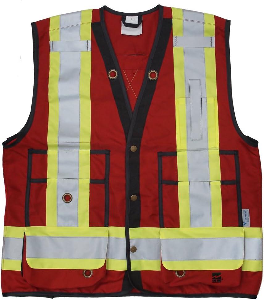Medium Fluorescent Red Viking 6165R-M Open Road Surveyor Safety-Vest-Vibrance 4-Inch Safety-Stripes-150D Polyester