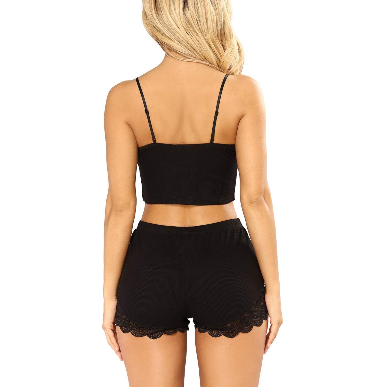 c7f2557088b RSLOVE Pajamas Set Women s V-Neck Sleeveless Sleepwear PJ Set Soft Lace  Cami Set with Short Pants Nightwear at Amazon Women s Clothing store