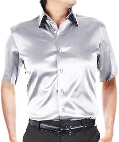 dahuo - Camisa de Vestir de Manga Corta con Botones de satén para Hombre 3 X-Large: Amazon.es: Ropa y accesorios