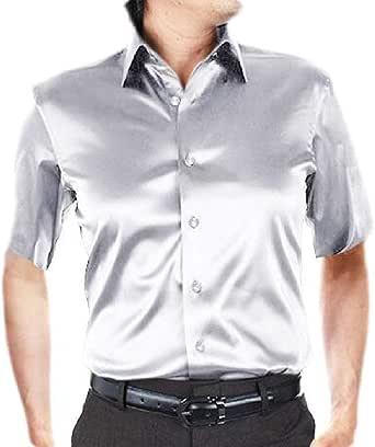 dahuo - Camisa de Vestir de Manga Corta con Botones de satén ...