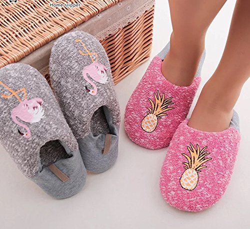 Yiwant Girl's Slippers Comfort Cotton Knitted Washable Flat Closed Toe Indoor Shoes with Non-Slip Sole Slipper-1001-25-26