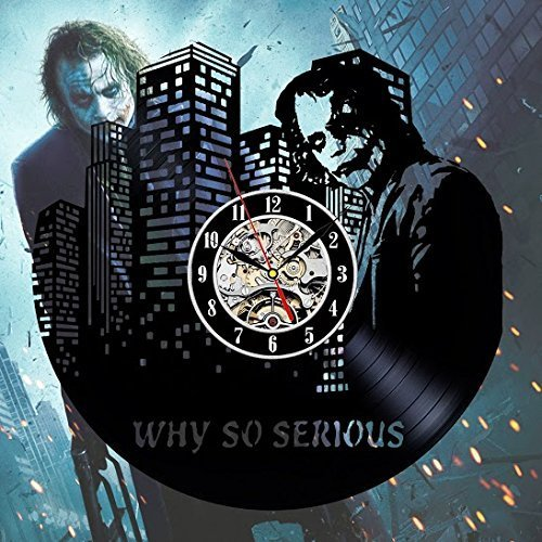 Dark Knight Joker Batman Movie Characters Vinyl Record Design Wall Clock - Decorate your home with Modern Dark Knight Art - Best gift for him or her, girlfriend or boyfriend - Win a prize for feedback