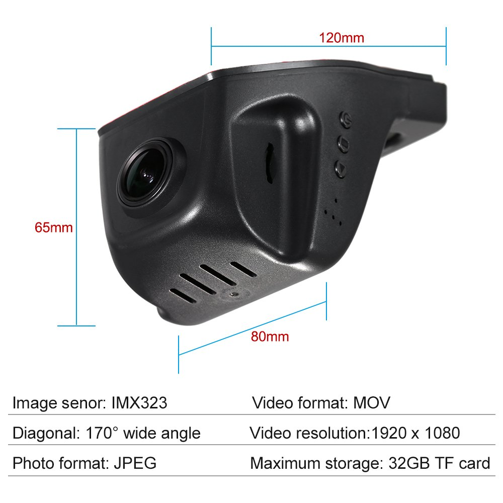 KKmoon Car DVR Camera Full HD 1080P Video Recorder Novatek 96658 IMX 323  WiFi APP Control for iOS Android Devices